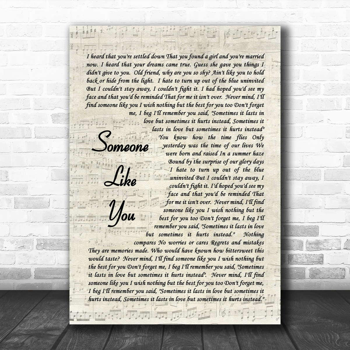 Someone Like You Adele Script Song Lyric Music Wall Art Print