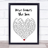 Here Comes The Sun The Beatles Song Lyric Heart Music Wall Art Print