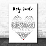 Hey Jude The Beatles Song Lyric Heart Music Wall Art Print