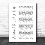 Bryan Adams Everything I Do I Do It For You White Script Song Lyric Music Wall Art Print