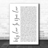 Whitney Houston My Love Is Your Love White Script Song Lyric Music Wall Art Print