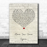 Dolly Parton Here You Come Again Script Heart Song Lyric Quote Print