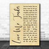 Elvis Presley Love Me Tender Rustic Script Song Lyric Quote Print
