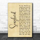 Eva Cassidy Songbird Rustic Script Song Lyric Quote Print