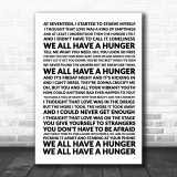 Florence & The Machine Hunger Song Lyric Quote Print