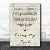 George Strait I Cross My Heart Script Heart Quote Song Lyric Print