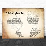 Jason Mraz I Won't Give Up Man Lady Couple Song Lyric Quote Print