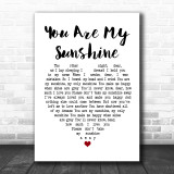 Johnny Cash You Are My Sunshine Heart Song Lyric Quote Print