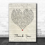 Led Zeppelin Thank You Script Heart Song Lyric Quote Print