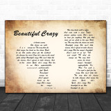 Luke Combs Beautiful Crazy Man Lady Couple Song Lyric Quote Print