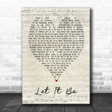 The Beatles Let It Be Script Heart Song Lyric Quote Print