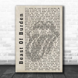 The Rolling Stones Beast Of Burden Shadow Song Lyric Quote Print