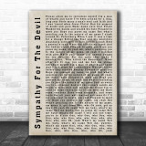 The Rolling Stones Sympathy For The Devil Shadow Song Lyric Quote Print
