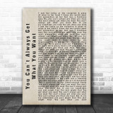 The Rolling Stones You Can't Always Get What You Want Shadow Song Lyric Print