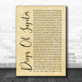Train Drops Of Jupiter Rustic Script Song Lyric Quote Print