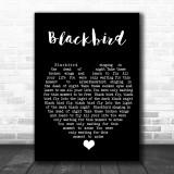 Blackbird The Beatles Black Heart Song Lyric Music Wall Art Print