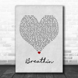 Ariana Grande Breathin Grey Heart Song Lyric Poster Print