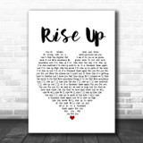 Andra Day Rise Up White Heart Song Lyric Poster Print