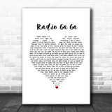 Queen Radio Ga Ga White Heart Song Lyric Poster Print