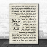 Randy Newman You've Got A Friend In Me Vintage Script Song Lyric Poster Print