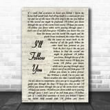 Shinedown I'll Follow You Vintage Script Song Lyric Poster Print