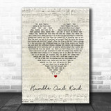 Tim McGraw Humble And Kind Script Heart Song Lyric Poster Print