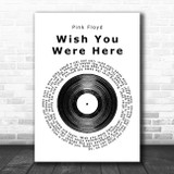 Pink Floyd Wish You Were Here Vinyl Record Song Lyric Poster Print