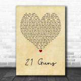 Green Day 21 Guns Vintage Heart Song Lyric Poster Print