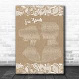 Jason Mraz I'm Yours Burlap & Lace Song Lyric Music Poster Print