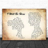Steven Curtis Chapman I Will Be Here Man Lady Couple Song Lyric Music Poster Print
