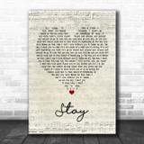 Rihanna ft. Mikky Ekko Stay Script Heart Song Lyric Music Poster Print