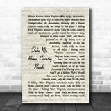 John Denver Take Me Home, Country Roads Vintage Script Song Lyric Music Poster Print