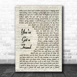 James Taylor You've Got A Friend Vintage Script Song Lyric Music Poster Print