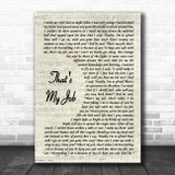 Conway Twitty That's My Job Vintage Script Song Lyric Music Poster Print