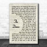 Garth Brooks The Dance Vintage Script Song Lyric Music Poster Print