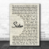 Dave Matthews Sister Vintage Script Song Lyric Music Poster Print