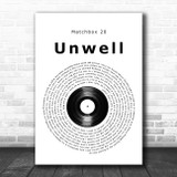 Matchbox 20 Unwell Vinyl Record Song Lyric Music Poster Print
