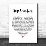 Earth, Wind & Fire September White Heart Song Lyric Music Poster Print