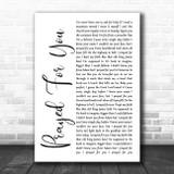 Matt Stell Prayed For You White Script Song Lyric Music Poster Print