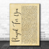 Matt Stell Prayed For You Rustic Script Song Lyric Music Poster Print