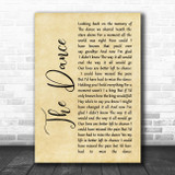 Garth Brooks The Dance Rustic Script Song Lyric Music Poster Print