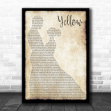 Coldplay Yellow Man Lady Dancing Song Lyric Print