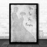 Calum Scott You Are The Reason Man Lady Dancing Grey Song Lyric Quote Print