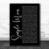 Lynyrd Skynyrd Simple Man Black Script Song Lyric Music Wall Art Print
