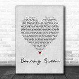Abba Dancing Queen Grey Heart Song Lyric Print