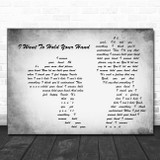 The Beatles I Want To Hold Your Hand Grey Man Lady Couple Song Lyric Print