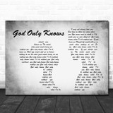 The Beach Boys God Only Knows Man Lady Couple Grey Song Lyric Quote Print