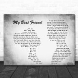 Tim McGraw My Best Friend Man Lady Couple Grey Song Lyric Quote Print