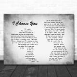 Sara Bareilles I Choose You Man Lady Couple Grey Song Lyric Quote Print