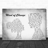 Scorpions Wind of Change Man Lady Couple Grey Song Lyric Print